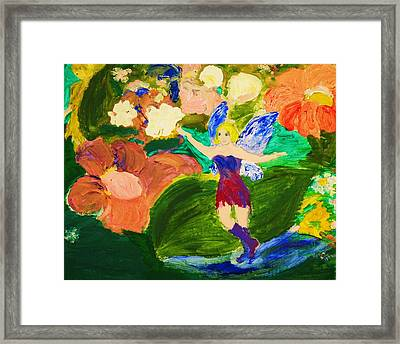 Framed Print featuring the painting Fairies In The Garden by Evelina Popilian