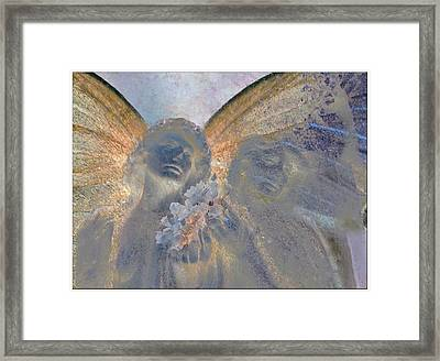 Fairies With White Flowers Framed Print by Heike Schenk-Arena