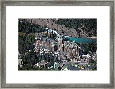 Fairmont Banff Springs Hotel With The Bow River Falls Banff Alberta Canada Framed Print by George Oze