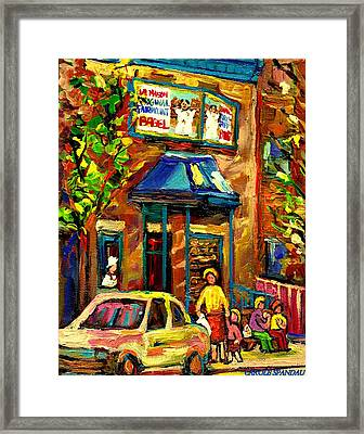 Fairmount Bagel In Montreal Framed Print by Carole Spandau