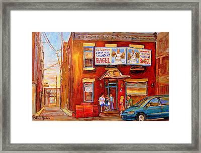 Fairmount Bagel Montreal Street Scene Painting Framed Print by Carole Spandau