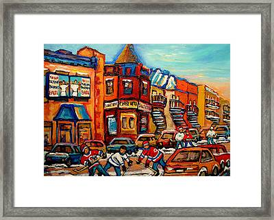 Fairmount Bagel With Hockey Framed Print by Carole Spandau