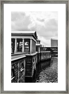 Fairmount Water Works In Black And White Framed Print by Bill Cannon