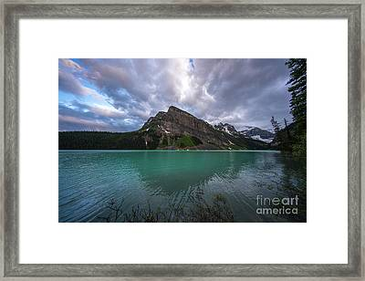Fairview Mountain And Lake Louise Framed Print by Mike Reid