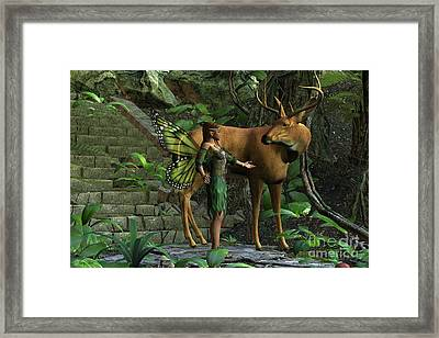 Fairy And Buck Framed Print by Corey Ford