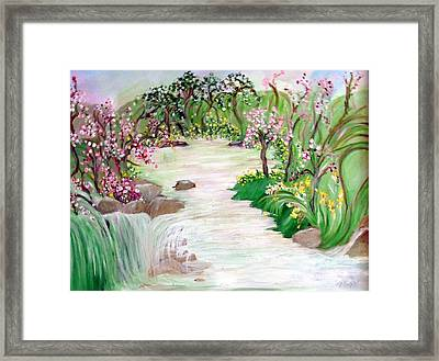 Framed Print featuring the painting Fairy Blossom Falls by Sherri  Of Palm Springs
