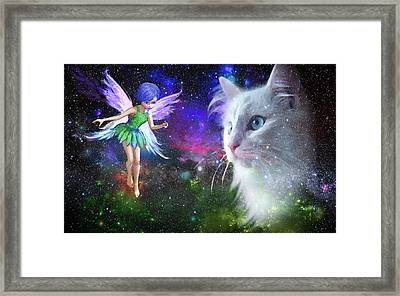Fairy Encounters Cat  Framed Print