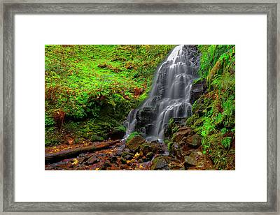 Framed Print featuring the photograph Fairy Falls Oregon by Jonathan Davison