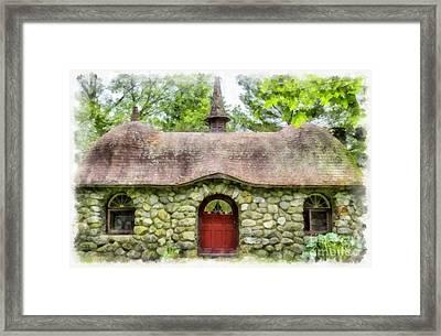 Fairy House Watercolor Framed Print by Edward Fielding