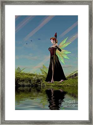 Fairy Lillith By Pond Framed Print by Corey Ford