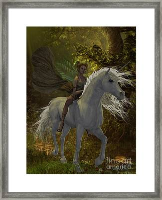 Fairy Rides Unicorn Framed Print by Corey Ford