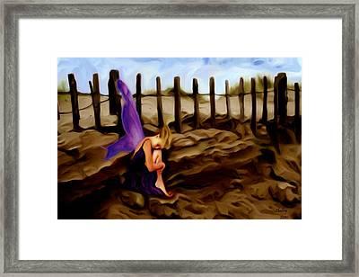 Fairy Sleeping On The Dunes Framed Print by Shelley Bain