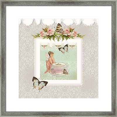Fairy Teacups - Flutterbye Butterflies And English Rose Damask Framed Print