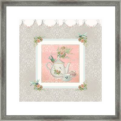 Fairy Teacups - Tea Party For Two Framed Print by Audrey Jeanne Roberts