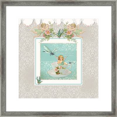 Fairy Teacups - Vintage Modern Baby Room Decor Framed Print by Audrey Jeanne Roberts