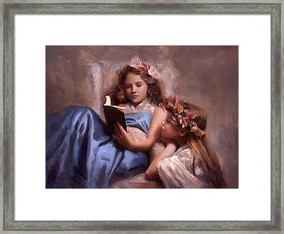 Framed Print featuring the painting Fairytales And Lace - Portrait Of Girls Reading A Book by Karen Whitworth