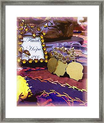 Faith Hope Love 4 Framed Print by Kate Browning Word