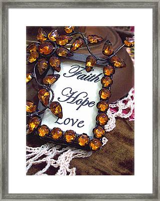 Framed Print featuring the photograph Faith Hope Love  by Kate Word