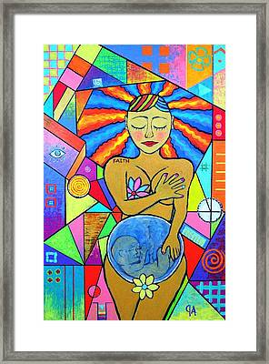 Faith, She Carries The World On Her Hips Framed Print