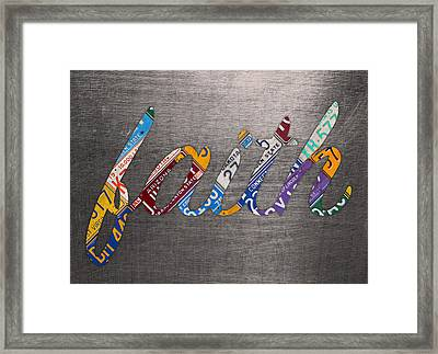 Faith Wording Sign License Plate Art Letters On Aluminum Recycled Sheet Framed Print