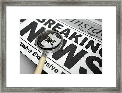 Fake News Newspaper Framed Print by Allan Swart