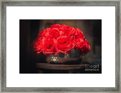 Fake Red Roses In Shadows On A Metallic Pot  Framed Print by Luca Lorenzelli