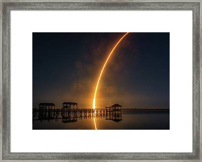 Falcon 9  Night Launch Framed Print
