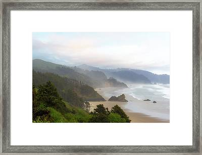 Falcon And Silver Point At Oregon Coast Framed Print