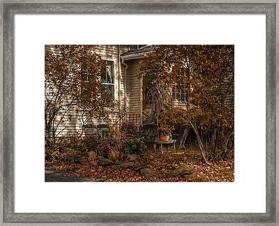Backyard In Fall Framed Print by Irena Kazatsker