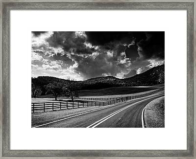 Fall Along Joe Brown Highway In Black And White Framed Print