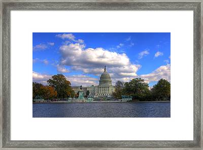 Fall At The Capital Building Framed Print