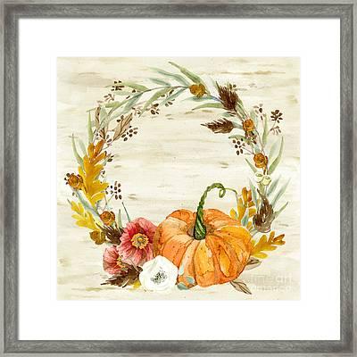 Fall Autumn Harvest Wreath On Birch Bark Watercolor Framed Print