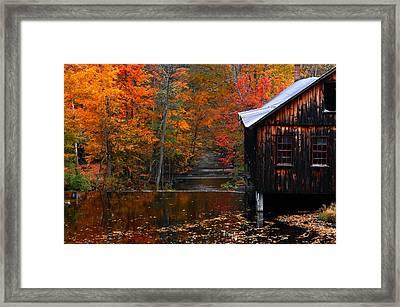 Fall Barn And River N Leverett Ma Framed Print by Richard Danek