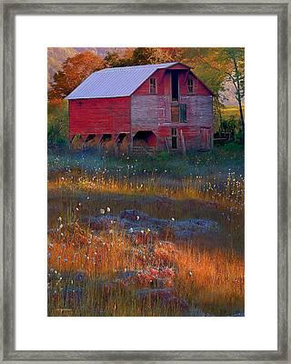 Fall Barn Framed Print by Ron Jones