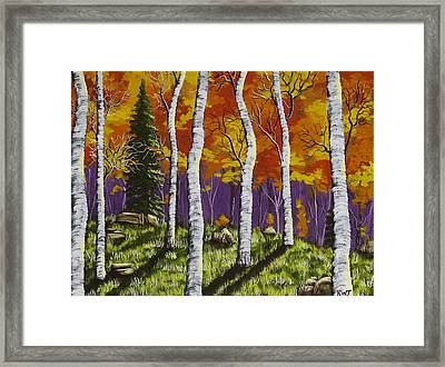 Fall Birch Trees Painting Framed Print by Keith Webber Jr