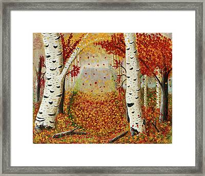 Fall Birch Trees Framed Print