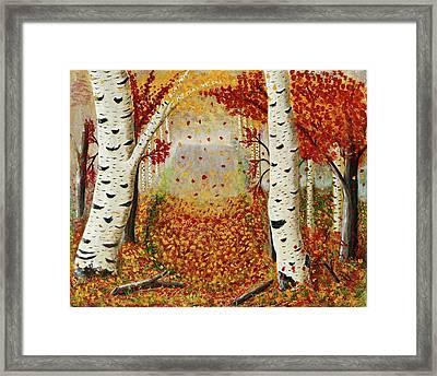 Fall Birch Trees Framed Print by Susan Schmitz