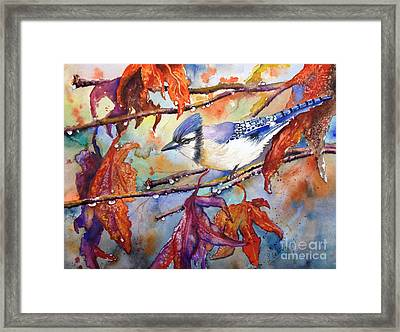 Framed Print featuring the painting Fall Blue Jay by Priti Lathia