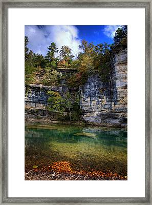 Framed Print featuring the photograph Fall Bluff At Ozark Campground by Michael Dougherty