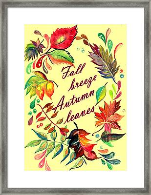 Fall Breeze Autumn Leaves Framed Print
