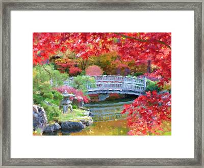 Fall Bridge In Manito Park - Impressionistic Framed Print by Carol Groenen