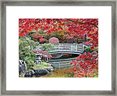 Fall Bridge In Manito Park Framed Print