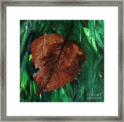 Framed Print featuring the painting Fall Brown Leaf by Janelle Dey