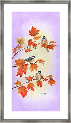 Fall Chickadees Framed Print by Judy Filarecki