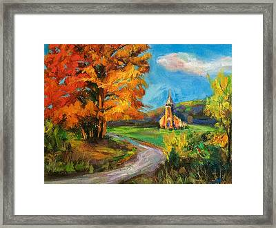 Fall Church Framed Print by Jieming Wang
