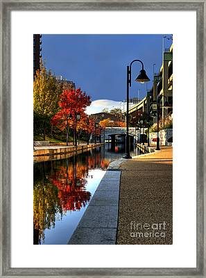 Fall Colors Along The Canal Framed Print