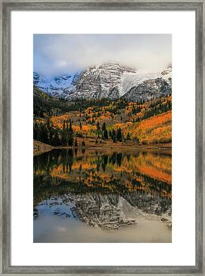 Fall Colors At Maroon Bells Colorado Framed Print by Dan Sproul