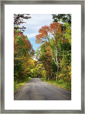 Fall Colors On Country Road Framed Print by Christina Rollo