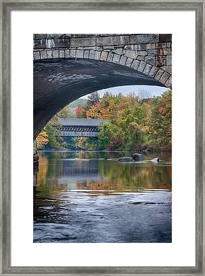 fall colors over Henniker covered bridge Framed Print by Jeff Folger