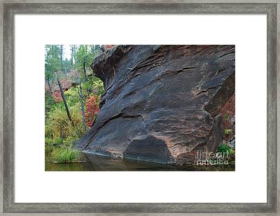 Fall Colors Peek Around Mountain Horizontal Number 1 Framed Print by Heather Kirk